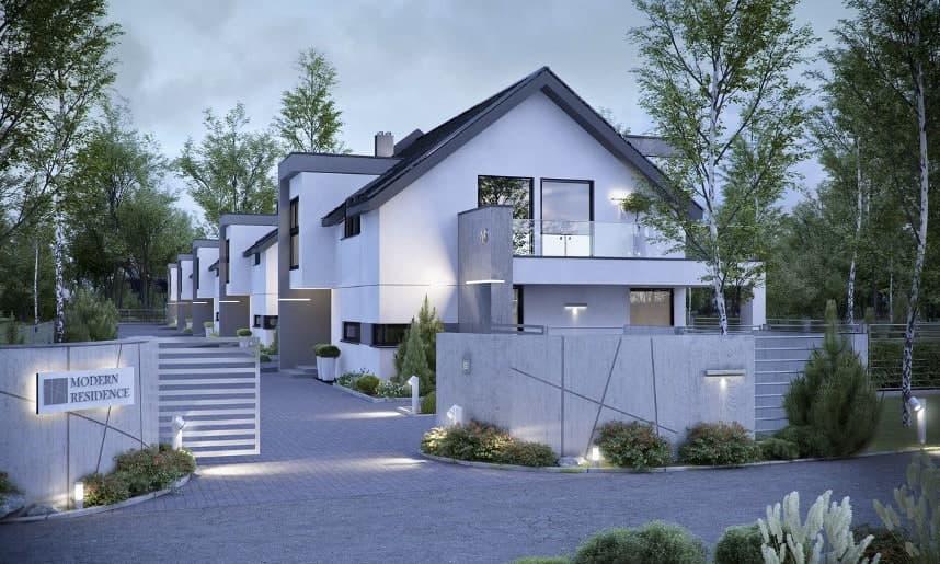 osiedle z modernistycznymi domami szeregowymi, w kolorach bieli i szarości oraz czarnymi dachami